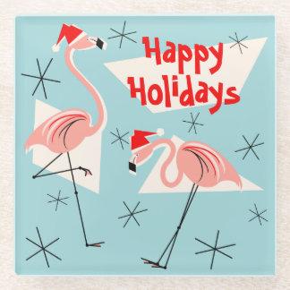 Flamingo Santas Blue Happy Holidays coaster