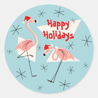 Flamingo Santas Blue Happy Holidays sticker round