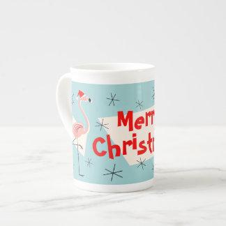 Flamingo Santas Blue Merry Christmas bone china Tea Cup