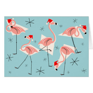 Flamingo Santas Blue Merry Christmas horizontal Card