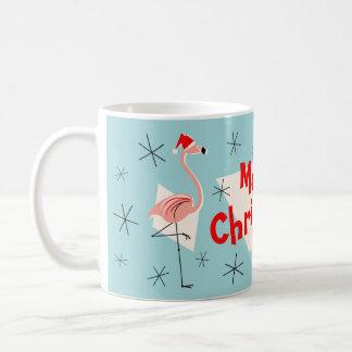 Flamingo Santas Blue Merry Christmas mug