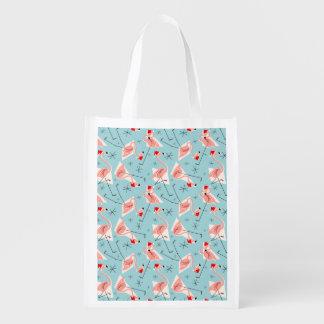 Flamingo Santas Blue Multi reusable bag