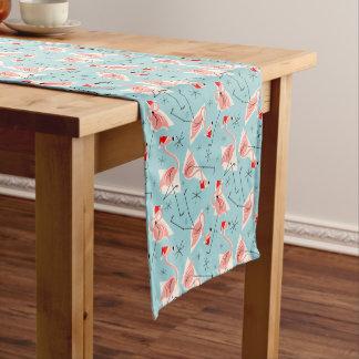 Flamingo Santas Blue Multi table runner