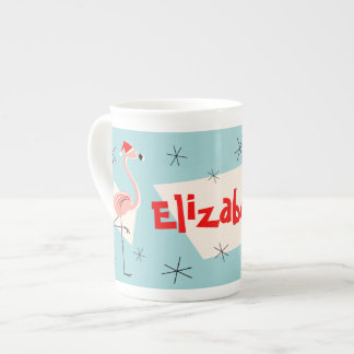 Flamingo Santas Blue Name bone china Tea Cup