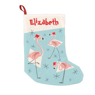 Flamingo Santas Blue Name stocking