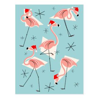 Flamingo Santas Blue postcard portrait