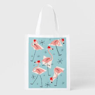 Flamingo Santas Blue reusable bag