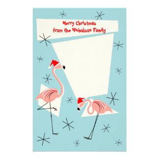 Flamingo Santas Blue Text stationery