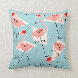 Flamingo Santas Blue throw pillow square