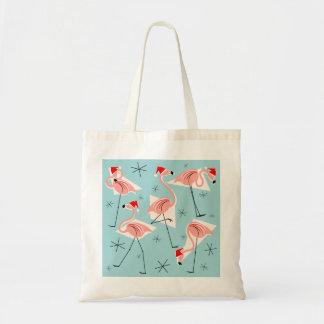 Flamingo Santas Blue tote bag