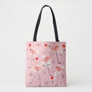 Flamingo Santas Pink all over tote bag