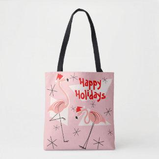 Flamingo Santas Pink Happy Holidays all over Tote Bag