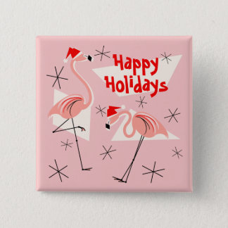 Flamingo Santas Pink Happy Holidays button square