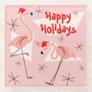 Flamingo Santas Pink Happy Holidays coaster
