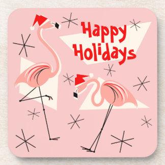 Flamingo Santas Pink Happy Holidays plastic Drink Coaster