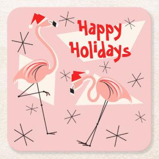 Flamingo Santas Pink Happy Holidays square Square Paper Coaster