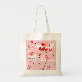 Flamingo Santas Pink Happy Holidays tote bag