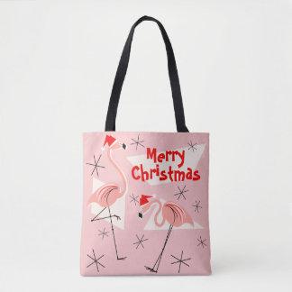 Flamingo Santas Pink Merry Christmas all over Tote Bag