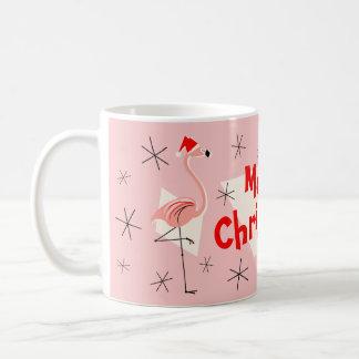 Flamingo Santas Pink Merry Christmas mug