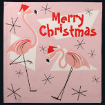"Flamingo Santas Pink Merry Christmas napkin set<br><div class=""desc"">A lively,  quirky Christmas design with retro touch featuring pink flamingos wearing Santa hats,  cream geometric shapes,  and stars on a pink (colour change) background. A customizable design for you to personalise with your own text,  images and ideas. An original digital art image created by QuirkyChic.</div>"