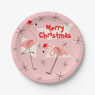 Flamingo Santas Pink Merry Christmas paper plate