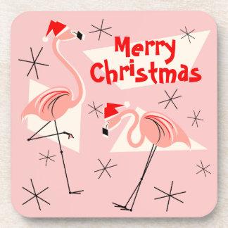 Flamingo Santas Pink Merry Christmas plastic Beverage Coaster