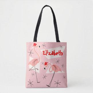 Flamingo Santas Pink Name all over Tote Bag