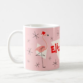 Flamingo Santas Pink Name mug