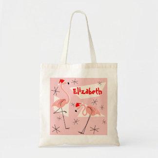 Flamingo Santas Pink Name tote bag