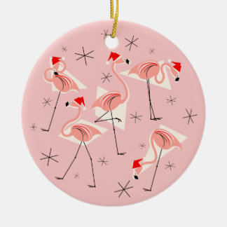 Flamingo Santas Pink ornament round