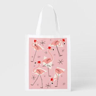 Flamingo Santas Pink reusable bag
