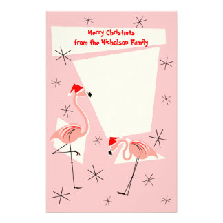 Flamingo Santas Pink Text stationery