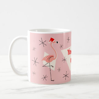 Flamingo Santas Pink Your Text mug