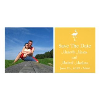 Flamingo Save The Date Photocard (Gold) Photo Card Template