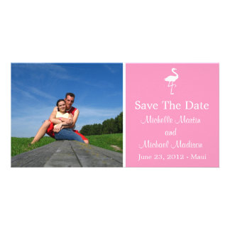 Flamingo Save The Date Photocard (Pink) Custom Photo Card