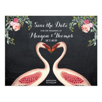 Flamingo Save the Date postcard chalkboard style