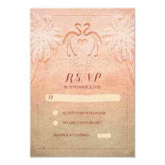 flamingo seaside wedding RSVP cards