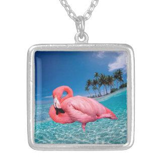 Flamingo Silver Plated Necklace Medium
