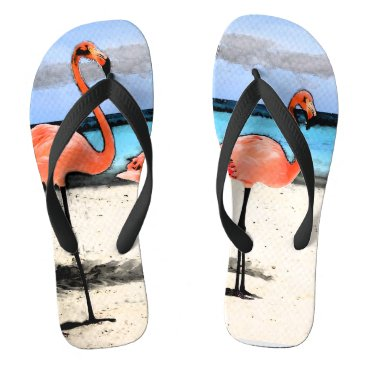 Beach Themed Flamingo Sketch Flip Flops