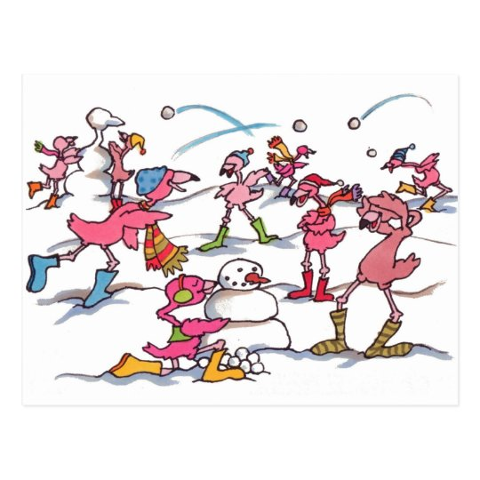Flamingo Snowball Fight Postcard