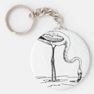 Flamingo Standing in Water Keychain