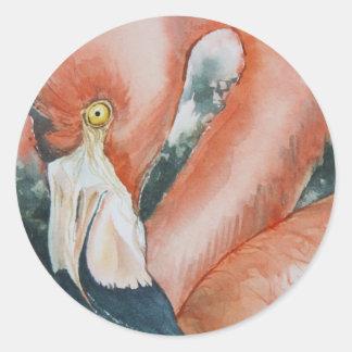Flamingo Round Sticker