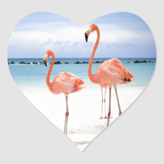 Flamingo Stroll Heart Sticker