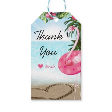 Beach Themed Flamingo Summer Beach Birthday Party Custom Favor Gift Tags