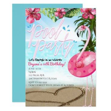Beach Themed Flamingo Summer Birthday POOL PARTY Invitations