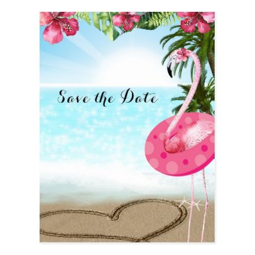 Beach Themed Flamingo Summer POOL PARTY Beach Save the Date Postcard