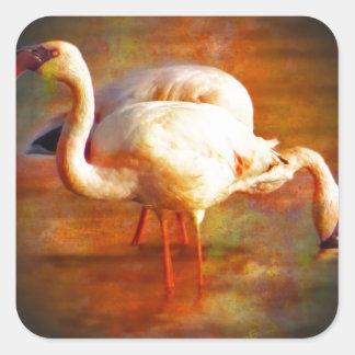 Flamingo Sun Square Sticker