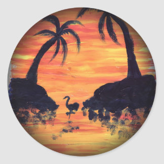 Flamingo Sunset art by EelKat Classic Round Sticker