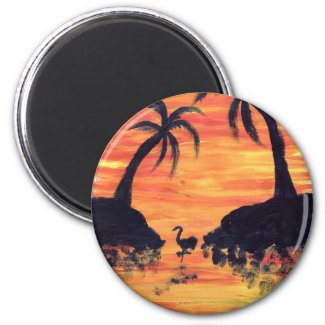 Flamingo Sunset art by EelKat Magnet