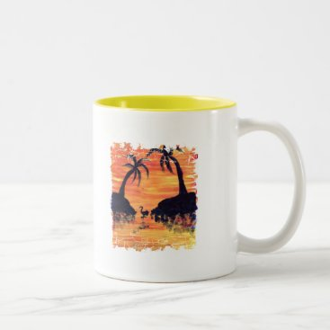 Beach Themed Flamingo Sunset art by EelKat Two-Tone Coffee Mug